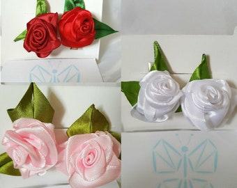 Rose Hair Clips // Satin Ribbon Flowers // Alligator Clips