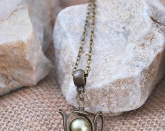 Teapot charm necklace, green glass bead necklace, tea necklace, minimalist bronze tone necklace