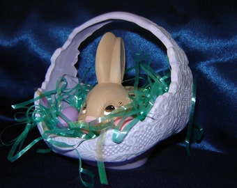 Lacy Purple Ceramic Easter Basket with Bunny and Eggs - Ceramic Basket - Easter Decoration