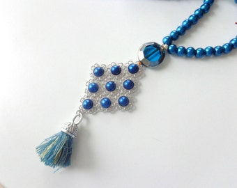Blue pearl tassel Statement necklace longer style, colorful necklace, tribal necklace
