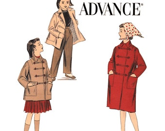 Girls Coat Pattern Advance 8098 Double Breasted Coat Casual Jacket Frog Closure Girls Size 6 Vintage Sewing Pattern
