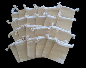 "4 Dozen 3""x4"" (7.62cmx10.16cm) Muslin Pouches 100 Percent Natural Cotton Small Drawstring Bags for Jewelry, Gifts or Party Favors"