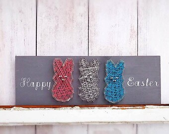 Happy Easter wood sign - Easter decorations - bunny wall art - Easter bunny decor - animal string art - farmhouse wall decor - gallery wall