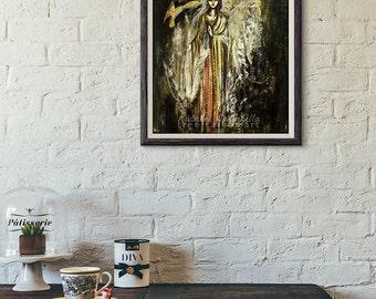 Giclée Art Print - Lover's Eye - Silver Goddess Painting - Mixed Media - Large Art Print