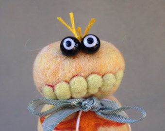 OOAK Needle felted Yellow Monster Zombie Toy Shelf Sitter Ready to Ship