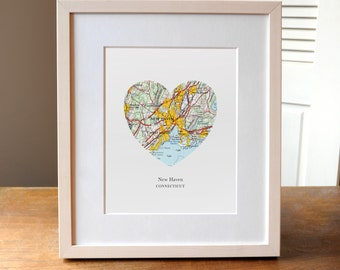 New Haven Connecticut Heart Map Print, Connecticut State Art, Custom City Print, New Haven Map Art