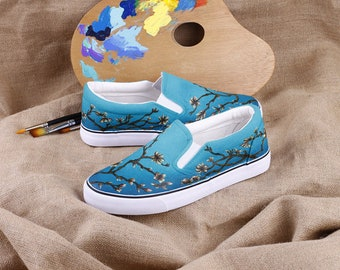 Hand Painted Almond Tree in Blossom Walking Flat Shoes