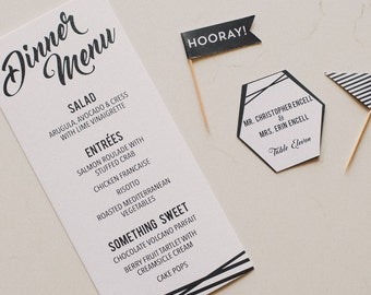 PRINTABLE Modern Geometric Black & White Wedding Dinner Menu 4.25x9 -  Digital Files Customized
