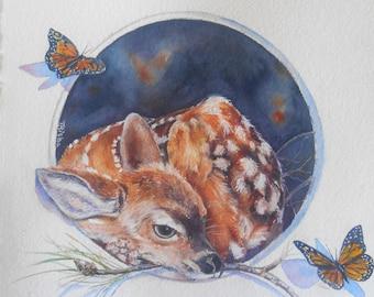 Sweet innocence, Fawn in Trompe Loeil frame, original watercolor