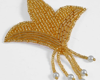 """Pearl Beaded Applique, Bridal Applique by 1 pc, 3-1/2""""H x 3""""W, Gold, FF-M2239"""