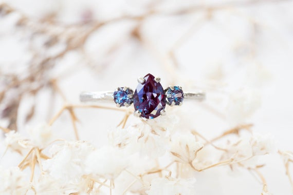 Ready to ship 1 week-Pear Chatham alexandrite 14k gold twig engagement ring, alexandrite engagement ring, three stone ring, alexandrite ring