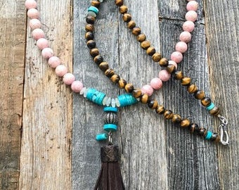 Pave Diamond Necklace | Leather Tassel Necklace | Kingman Turquoise | Rhodochrosite | Moonstone | Bohemian