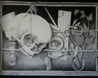fine art PRINT - tromp-l'oeil stilllife  - pencil, graphite, skull, black and white, nocturnal, gothic, vanitas, memento mori, stilllife