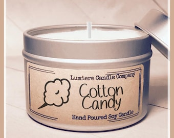 COTTON CANDY scented Soy Candle Tin, Scented Soy Candles, Hand Poured Soy Candles, Soy Candles Handmade, Candle, Lumiere Candle Company