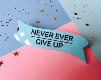 Never Give Up, Laser Cut Badge, Acrylic Brooch, Inspiration, Inspiration Brooch, Motivation Brooch, Laser Cut Brooch, Acrylic Jewellery