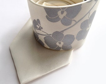 Orchid Branch silk necktie. Floral men's tie. Silver silkscreen print on cream, ivory, black & more. Choose standard or narrow size.
