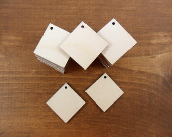"""Wood Earring Square Shapes 1"""" (25.4mm) x 1/8"""" (3.175mm) Thick Cutouts Jewelry Making Shapes - 25 Pieces"""