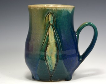 Green purple and blue mug, Coffee Mug  14 oz, handmade ceramic Mug, Pottery coffee cup with figure.