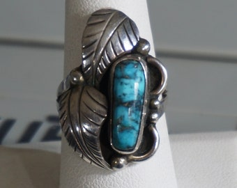 Sterling Turquoise Ring Native American Turquoise Ring Sz 7.5