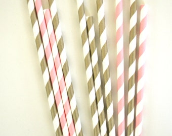 Pink Ballerina Paper Straws // Little Princess // Gold and pink //  Baby shower // Cake Pops // Party favors