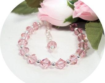 Pink Crystal Bracelet, Little Girl Jewelry, Flower Girl, Pageant, Toddler Jewelry, Kids Jewelry, Bracelet, Pink