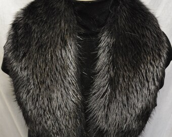 Real Black Beaver  fur Collar detachable Women Men new  made in usa