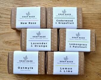 6 Handmade 100% Natural Soaps, Original Range, large soaps, vegan soaps