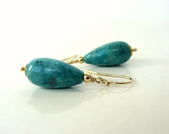 Turquoise gold earrings, large genuine turquoise drops 14kt goldfill handmade greenish-blue  Let Loose Jewelry under 75 December birthstone