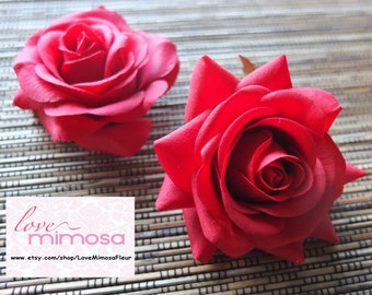 A pair of Red Roses Hair clips, Wedding Accessories, Wedding Hair Flowers