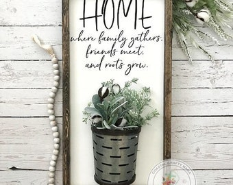 Home Where Family Gathers Galvanized Vase Sign, Vase Sign, Farmhouse Sign, Farmhouse Decor, Home Sign, Cotton Stem Sign, Gallery Wall Sign