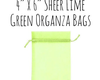 """10 or 25 Pack Of 4 x 6"""" Rectangle Sheer Lime Green Drawstring Ribbon Organza Bags, Wedding Favors, Gift Bag, Candy Bag, Wedding Supply, Lime"""