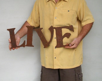 """LIVE metal wall art sign steel - 25"""" wide - choose your color with rust patina - LIVE wall art - metal wall art - live love laugh wall art"""