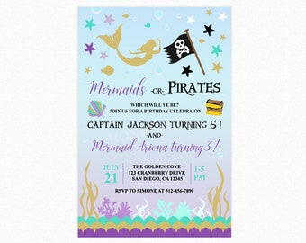 Mermaid and Pirate Birthday Invitation, Under the Sea Party, Joint, Twins, Printable File Option, Printed Option