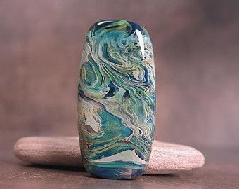 Artisan Glass Lampwork Focal Bead, Art Glass Beads, Silver Glass Focal Bead, Blue Green,  Divine Spark Designs, SRA