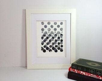 Black and Grey minimal linocut art 9x12 limited edition
