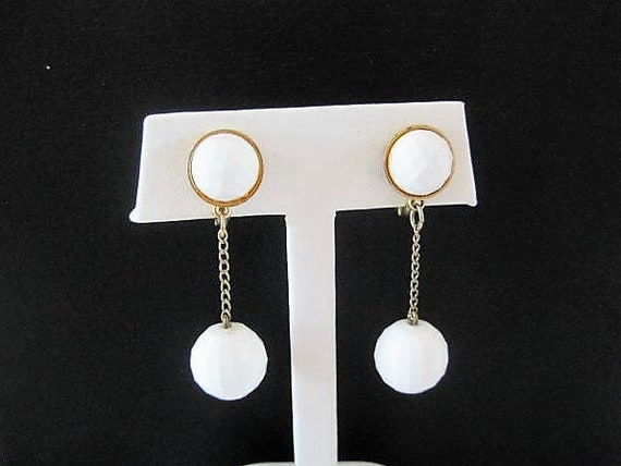 Monet White Earrings,  Dangle Lucite Beads,  White Drop Clip Ons
