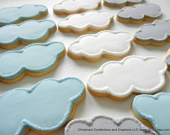 Cloud Hand decorated Sugar Cookies for Baby Showers (#2368)
