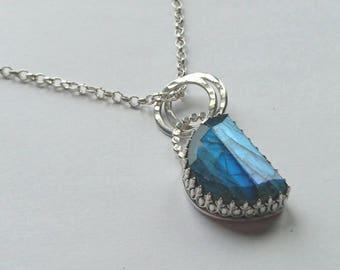Sterling silver handmade labradorite necklace, hallmarked in Edinburgh.