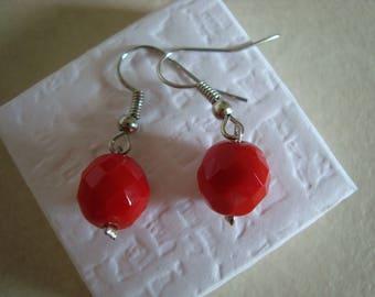 Fancy Red faceted earrings