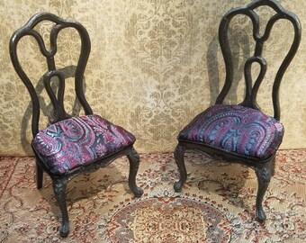 Miniature dollhouse black chairs, 1:12 scale.