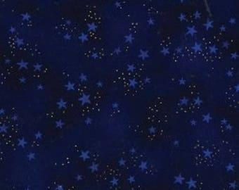 Laurel Burch - Dark Blue Star Metallic (90333-2M) 100% cotton fabric - sold by the yard