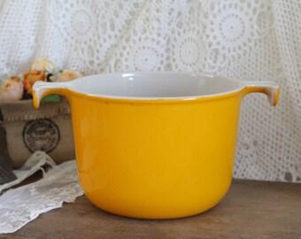 Vintage French Le Creuset Orange Cast Iron Fondue Pot - Enzo Mari
