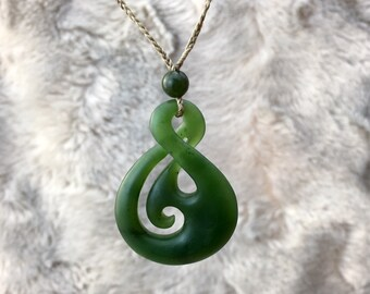 Canadian Nephrite Jade Maori Pendant - Green Jade - Jade Necklace