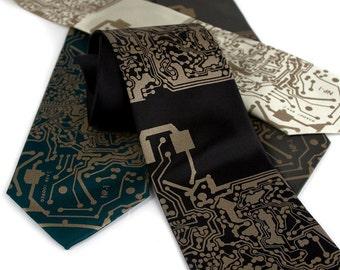 "Circuit board necktie. Silkscreened circuit board men's tie. ""Short Circuit"" Antique brass print. Computer science, programming, maker gift."