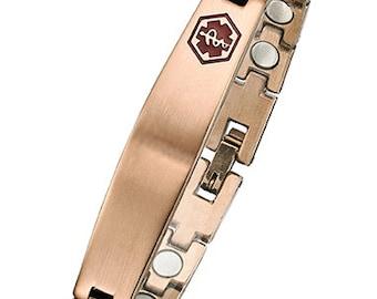 Stainless Steel Rose Gold Plated Magnetic Medical ID Bracelet - SRG622MED