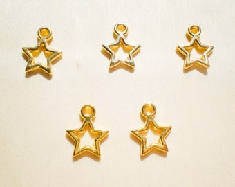 10 Star Charms, Gold Plated Tone Charms, Celestial Charms, Jewelry Findings