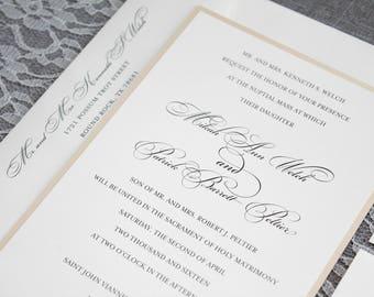Gold Wedding Invitation, Formal Wedding Invitation, Simple Wedding Invitation,  Formal Invitation, Traditional Invitation | Mikah & Patrick