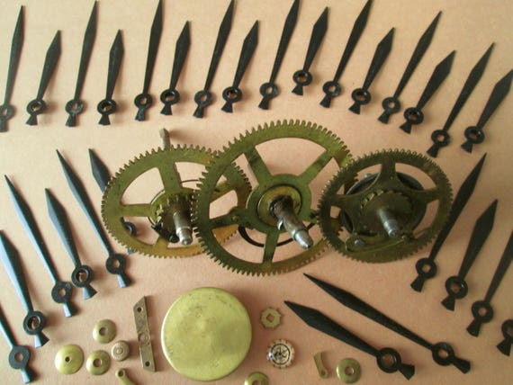 Lot 6 Steampunk Art Goodies - 3 Large Antique Clock Gears, 1 Brass Pendulum Bob and 14 Pairs of Painted Copper Sword Design Clock Hands