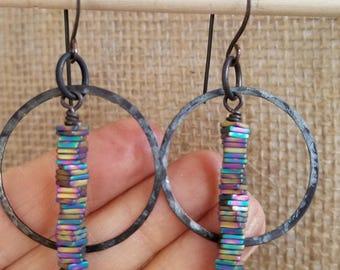 Rainbow hematite and oxidized bronze hoop earrings