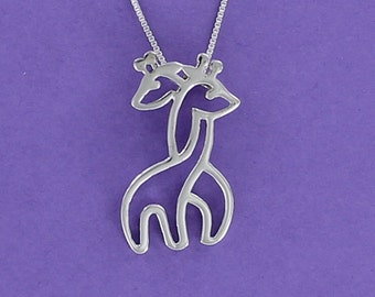 Hugging Giraffes Necklace - 925 Sterling Silver on Sterling Box Chain